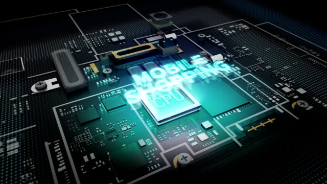 Hologram typo 'Mobile Shopping'  CPU chip circuit, grow artificial intelligence. video