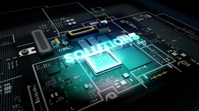 Hologram typo 'Solutions '  CPU chip circuit, grow artificial intelligence. video