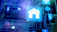 Home automation, smart home concept on motherboard video