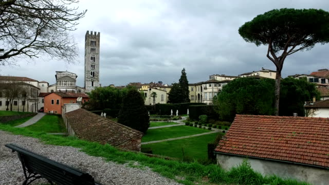 Home buildings and big tower in Lucca,Italy video