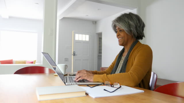 Home Finances On Computer by African American Senior Woman video