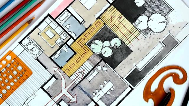 Home floor plan, watercolor & ink freehand sketch video