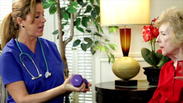 Home Health Care Nurse Showing Exercise video
