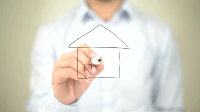 Home, House Illustration,  Man writing on transparent screen video