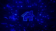 Home icon. Circuit board with electrons. Technology. Loop able. Blue. video