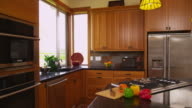 Home kitchen interior, dolly movement video