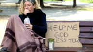 Homeless alcoholic woman video