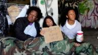 Homeless Family Girl Hungry Tracking Shot video