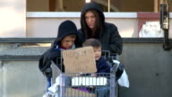 Homeless Family Pushes Shopping Cart video