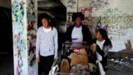 Homeless Family Pushing Cart video