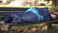 Homeless Man sleeping rough - Tripod video