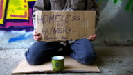 HD DOLLY: Homeless Person Begging In The Underpass video