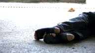 HD DOLLY: Homeless Person Sleeping Beside His Cup video