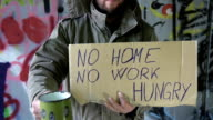 HD DOLLY: Homeless Person With A Cardboard video
