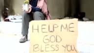 Homeless woman begging video