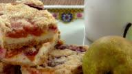 Homemade seasonal fruity pie with crumble video