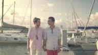 Homosexual Couple Walking at the Marina video