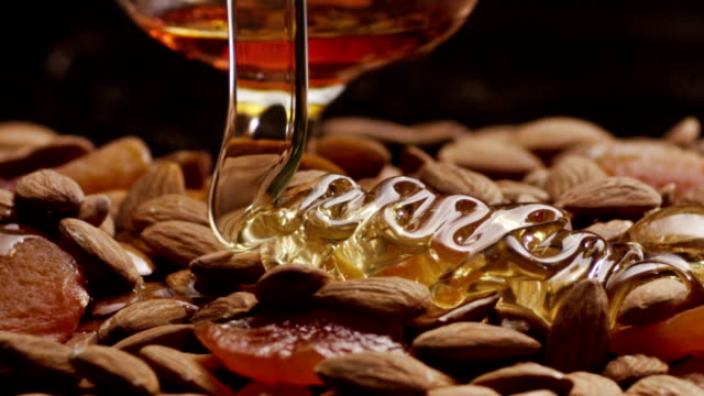 Honey, nuts & brandy  slow motion video