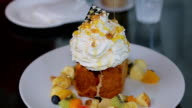 Honey Toast, Consists of bread topped with honey and ice cream. video