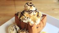 Honey toast with vanilla ice cream and banana video