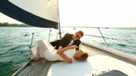 honeymoon of a young couple on a yacht cruise video