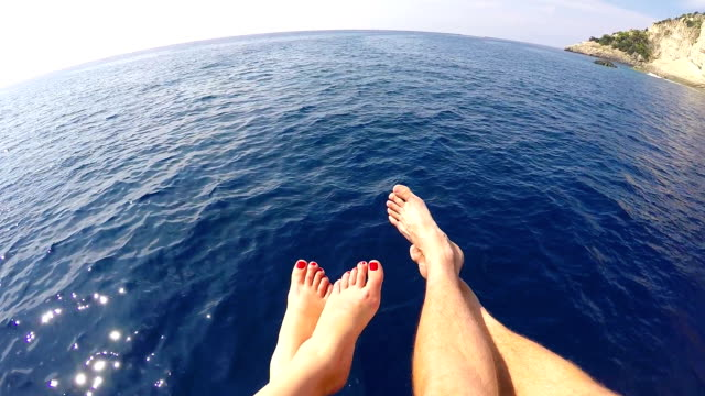 Honeymoon trip.  Flying over the sea video