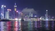 Hong Kong at night. Timelapse video