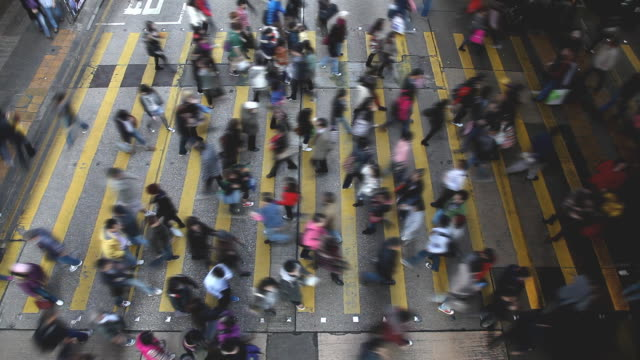 Hong Kong busy street crossing video