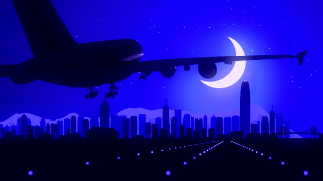 Hong Kong China Blue Airplane Landing Skyline Midnight Background video