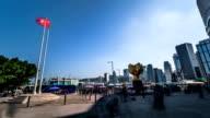Hong Kong, China-Nov 15, 2014: The famous Bauhinia square and the visitors in Hong Kong, China video