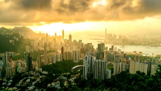 Hong Kong City With Golden Sunbeam video
