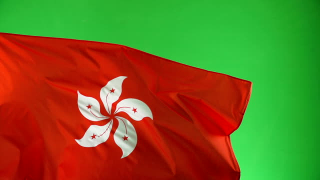 Hong Kong Flag on green screen, Real video, not CGI - Super Slow Motion video