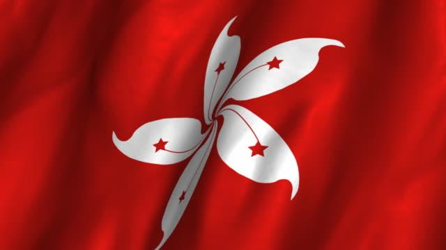 Hong Kong Flag - waving, looping video