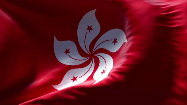 Hong Kong Flag waving seamless loop video