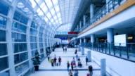 Hong Kong International Airport And People Crowd Walking Time Lapse video