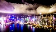 Hong Kong night bird view timelapse VETTA video