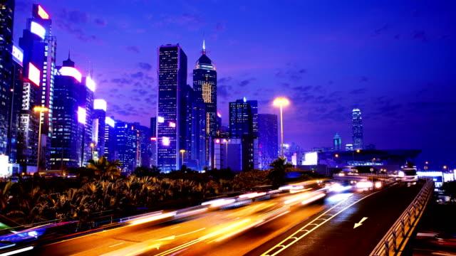 Hong Kong of China. Busy Traffic at Night. 4K Wide Shot. video