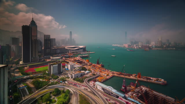 hong kong port panoramic view 4k time lapse from roof top video