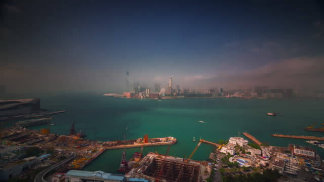 hong kong port sunny working day 4k time lapse from the roof top video