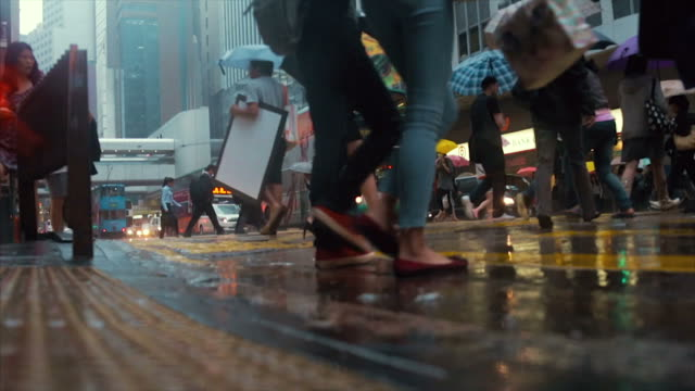 Hong Kong street in the rain video