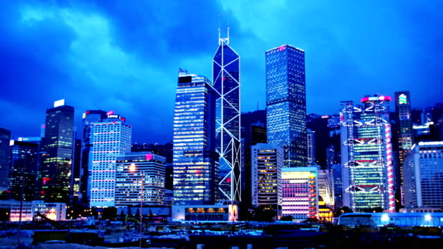 Hong Kong Sunset Cityscape Timelapse. 4K Wide Shot. video