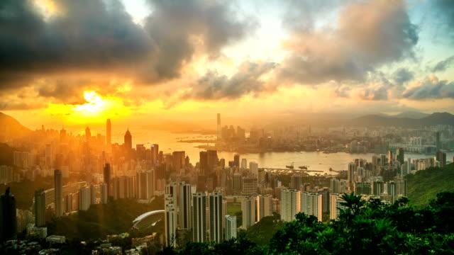 Hong Kong Urban City Sunset video