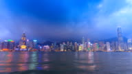 Hong Kong Victoria Harbour Cityscape Day To Night Time Lapse Of HongKong City, China (zoom out) video