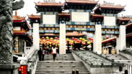 Hong Kong,China-Nov 13,2014: The memorial archway in the famous Wong Tai Sin Temple,Hong Kong,China video