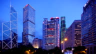 Hong Kong's Admiralty time-lapse at blue hour video