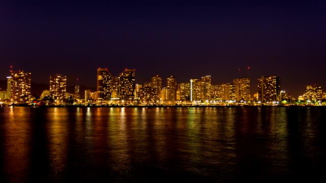 Honolulu waterfront Night Skyline Time Lapse video