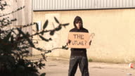 Hoody holding board saying 'THE FUTURE' - HD & PAL video
