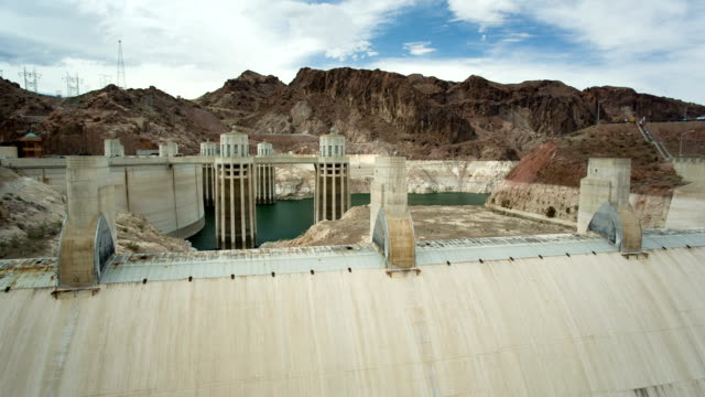 Hoover Dam with low level of water video