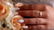Horizontal close-up shot of wedding bouquet video