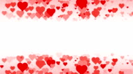 Horizontal Rows of scrolling Hearts over White Background (Loopable) video